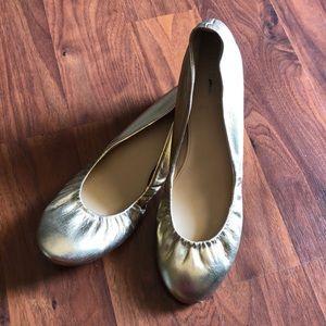 Gold J.Crew Ballet Flats
